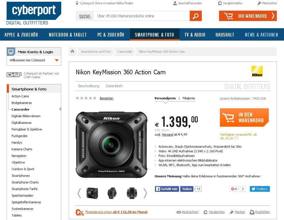 Câmera Nikon KeyMission 360°